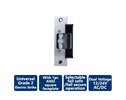 Camden 'Universal' Low Profile Gr. 2 Electric Strike with 1pc ANSI square face plate