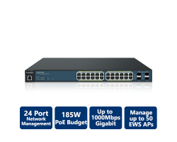 EnGenius Neutron EWS 24-Port Managed Gigabit 185W PoE+ Switch