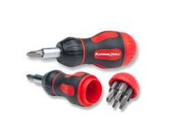Platinum Tools 19120C 8-in-1 Ratcheted Stubby Screwdriver