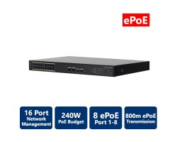 16-Port PoE Switch with 8-Port ePoE