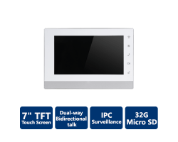 "IP Indoor Monitor with 7"" TFT touch screen, SIP"