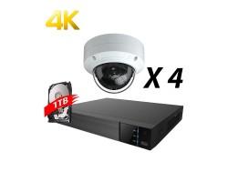 4 Channels, 4 Cameras 4K IP Kit, White