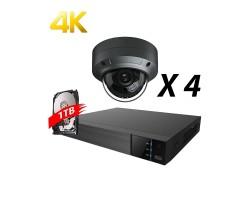 4 Channel, 4 IP 4K Cameras, EyeOnet Kit, Grey