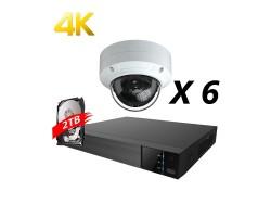 8 Channels, 6 Cameras 4K IP Kit, White