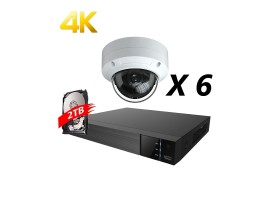 8 Channels, 6 Cameras 4K IP Kit, White