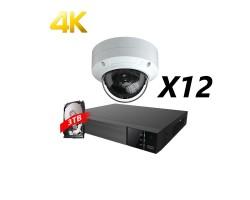 16 Channels, 12 Cameras 4K IP Kit, White