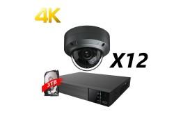 16 Channels, 12 Cameras 4K IP Kit, Grey