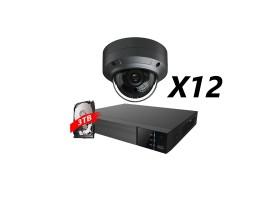 16 Channel, 12 Cameras 5MP IP Kit, Grey
