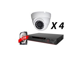 4 Channel, 4 Cameras 5MP IP WDR Kit, White
