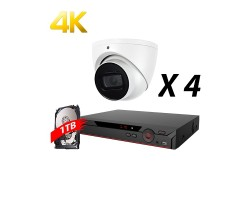 4 Channel, 4 Cameras 4K HD Kit, White, EyeOnet