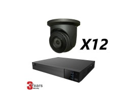 16 Channel, 12 IP 5MP Cameras, EyeOnet Kit, Grey