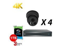 4 Channel, 4 HD 4K Cameras, EyeOnet Kit, Grey