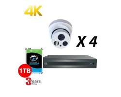 4 Channel, 4 HD 4K Cameras, EyeOnet Kit, White