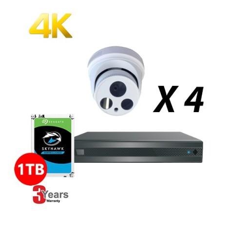 4 Channel, 4 HD 4K Cameras, EyeOnet Kit, White