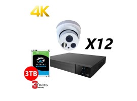 16 Channel, 12 HD 4K Cameras Kit, White,  EyeOnet
