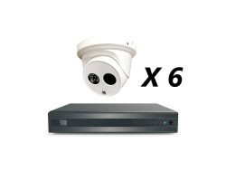 8 Channel, 6 HD 5MP Cameras, EyeOnet Kit, White