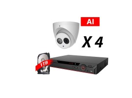 4 Channel, 4 HD 5MP AI Cameras, DH OEM Kit, White