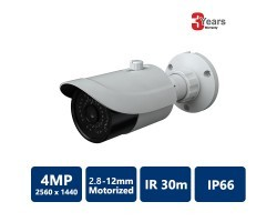 4MP IP IR Water-resistant Bullet Camera, 2.8-12mm Motorized Lens