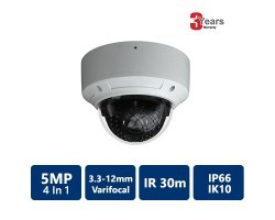 EYEONET 5 MP 4-In-1 IR Water-resistant Vandal Dome, 3.3-12mm varifocal lens