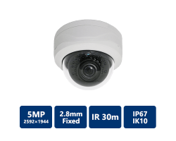 5MP True WDR IR Mini-Dome Network Camera, 2.8mm fixed lens