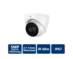 5MP 4-In-1 HD Analog IR Eyeball, 2.7-12mm Motorized