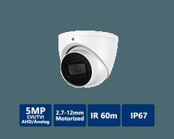 5MP 4-In-1 HD Analog IR Eyeball, 2.7-12mm Motorized