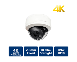 4K Starlight 4-In-1 IR Vandal Dome, 2.8mm Fixed