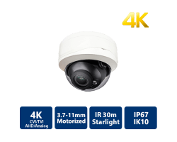 4K Starlight 4-In-1 IR Vandal Dome, 3.7-11mm Motorized