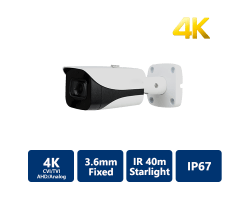 4K Starlight 4-In-1 40m IR Bullet, 3.6mm Fixed