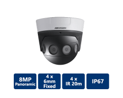 DS-2CD6924F-IS Hikvision 8MP PanoVu Series Panoramic Dome Camera, 4mm lens
