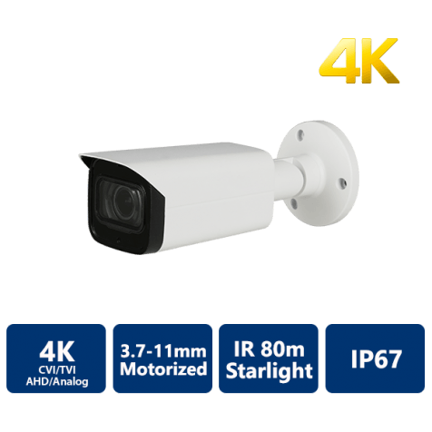 4K Starlight 4-In-1 80m IR Bullet, 3.7-11mm Motorized