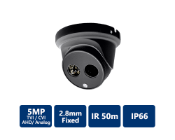 4-In-1 5MP Ultra HD Turret, 2.8mm Fixed, Black