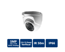 5MP 4-In-1 50m IR Outdoor Varifocal Turret, 2.8-13.5mm, White