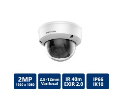 Hikvision 2MP Outdoor EXIR 2.0 4-In-1 Vandal Dome, 2.8-12mm Varifocal