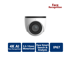 EYEONET 4K True WDR AI Face Recognition IP Eyeball, 3.3-12mm Motorized