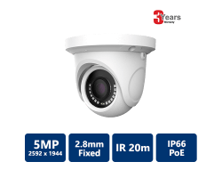 EYEONET 5MP IP IR Water-resistant Eyeball, 2.8mm fixed, White
