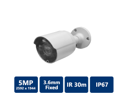 5MP True WDR IR Mini-Bullet Camera, 3.6mm Fixed