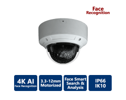 EYEONET 4K True WDR AI Face Recognition IP Vandal Dome, 3.3-12mm Motorized