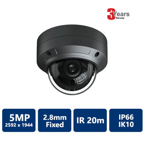EYEONET 5MP IP IR Water-resistant Vandal Dome, 2.8mm Fixed (Grey)