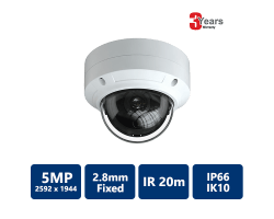 EYEONET 5MP IP IR Water-resistant Vandal Dome, 2.8mm Fixed