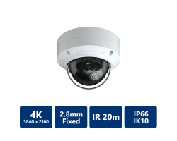 EYEONET 4K Ultra HD IP IR Water-resistant Vandal Dome, 2.8mm Fixed
