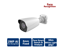 EYEONET 2MP Professional White Light AI Face Recognition IP Bullet, 8mm Fixed