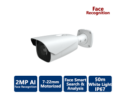 EYEONET 2MP Professional White Light AI Face Recognition IP Bullet, 7-22mm Motorized