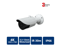 EYEONET 4K Ultra HD IP IR Water-resistant Bullet, 3.3-12mm Motorized