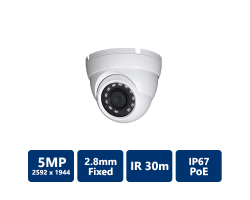 5MP H.265 True WDR IR Eyeball IP Camera, 2.8mm fixed