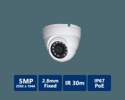 5MP H.265 True WDR IR Eyeball IP Camera, 2.8mm fixed