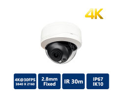 4K Real Time True WDR IR IP Dome, 2.8mm Fixed