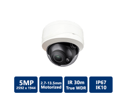 5MP True WDR 30m IR IP Vandal Dome, 2.7-13.5mm motorized lens