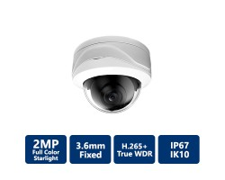 2MP True WDR Full-color Starlight IP Vandal Dome, 3.6mm Fixed