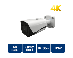 8MP True WDR IR Mini IP Bullet, 2.8mm Fixed